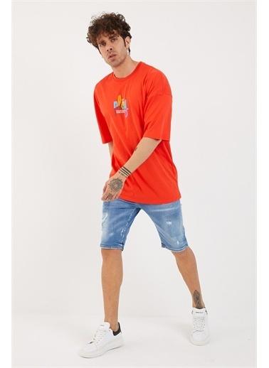 XHAN Buz Mavisi Baskılı Oversize T-Shirt 1Yxe1-44878-43 Kırmızı